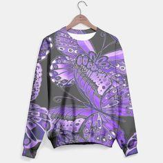 Purple Butterfly Pattern Sweater, Live Heroes