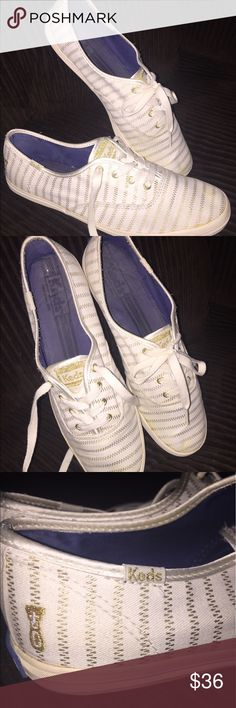 Vans white with fine gold stripes. 8.5🖤🖤🖤 Vans white with fine, gold detail. Good eyelets. Gold embroidery at heels. Keds in gold on tongue and sides. Canvas is secure and not pulling away from rubber at any point. Soles in excellent condition. Heel branding in the excellent condition. These are adorable and feminine. Size 8.5. Navy lining. 🖤🖤🖤 Vans Shoes
