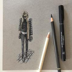 @damselindior  #art #drawing #pen #sketch #illustration #fashion #fashionillustration #fashionblogger #streetstyle #fabercastell