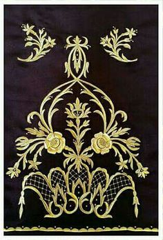 Fatma Köksal Zardosi Embroidery, Embroidery Works, Creative Embroidery, Machine Embroidery Patterns, Embroidery Thread, Embroidery Designs, Filet Crochet Charts, Brazilian Embroidery, Gold Work