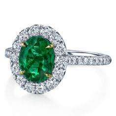 Omi Prive: Emerald and Diamond Ring Style: RC1220-EMOV