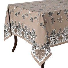 KAF Home Botanique Tablecloth, Beig/Green (Beig/Khaki)