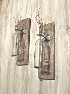 Wine Bottle Wall Mounted Vase (set of 2). $39.00, via Etsy.