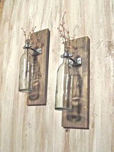 Wine Bottle Wall Mounted Vase (set of 2). $39.00, via Etsy.