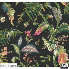 Bali Garden Wallpaper  [TRF-56851] Vacation in the Tropics | Color: black, teal…
