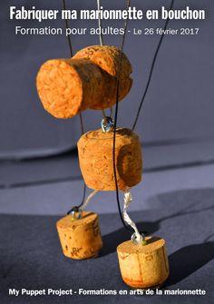 Création complète d'une marionnette à fils avec des bouchons (Champagne, vin, bière) et de son appareil de contrôle (voir vidéo ci-dessous) suivi d'une training de manipulation.