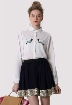 #Chicwish  Birds Embroidery Peter Pan Collar Shirt - New Arrivals - Retro, Indie and Unique Fashion