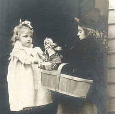 TWO CHARMING LITTLE GIRLS WITH ANTIQUE DOLL & ORIGINAL VINTAGE PHOTO