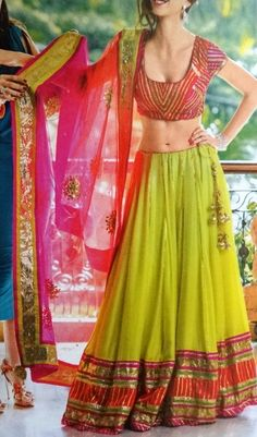 Lime Green chaniya choli.. sanjeet & mehndi..