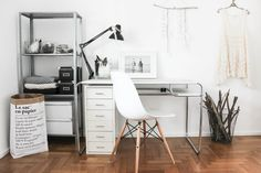 Ikea 'Hyllis' shelf & 'Helmer' cabinet in working space
