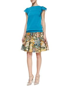 Knit Flutter-Sleeve Top & Pleated Wildflower Skirt by RED Valentino at Neiman Marcus #flirty #spring #floral #look