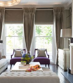 TAYLOR HOWES DESIGN. Stunning room. These romans are hung at just the right spot. Panels have beautiful deep pencil pleats. LOVE!