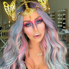 Unicorn look on @aubreyoday used the @makeupforeverofficial flash palette to create this look! #makeupforever  lashes by @lillylashes in Opulence