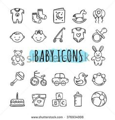 Hand drawn kids symbols: toys, food, clothes The Effective Pictures We Offer You About Baby Clothing swag A quality picture can tell you many things. Toys Drawing, Baby Drawing, Clipart Baby, Pregnancy Journal, Baby Journal, Pregnancy Scrapbook, Doodle Baby, Scrapbook Bebe, Baby Icon