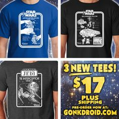 """Just in time for Life Day and Xmas!!! NEW pre-sale from Gonkdroid.com and mancinasART! $17 plus shipping! Pre-Order sale end November 24th! Prices go to $20 plus shipping after that… These tees make great xmas gifts for that """"hard-to-buy-for"""" Vintage Star Wars Collector or to YOURSELF! Pre-Order yours NOW to guarantee shipment by Xmas! Shirts are targeted to ship out December 2nd - 6th. #starwars #vintagestarwarstoys #R2D2 #millenniumfalcon #tieinterceptor #tiefighter #graphictees"""