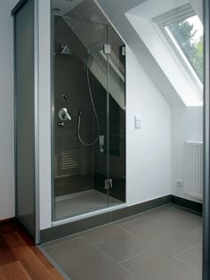 Modern Attic Bathroom Design Ideas - How to turn your attic into an extra room by creating a bathroom Install shelving in niches beneath sloping walls and create a luxurious feel with a w. Attic Shower, Small Attic Bathroom, Loft Bathroom, Upstairs Bathrooms, Bathroom Design Small, Bathroom Layout, Master Bathroom, Small Shower Room, Shower Rooms