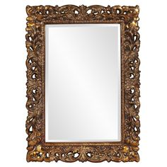 Howard Elliott Barcelona Gold Mirror on sale. This rectangular, Traditional mirror features an ornate open scroll work frame that is finished in an antique gold leaf. Gold Home Decor, Home Decor Mirrors, Baroque Mirror, Black Mirror, Traditional Mirrors, Portrait Wall, Wall Mounted Mirror, Wall Mirrors, Gold Walls