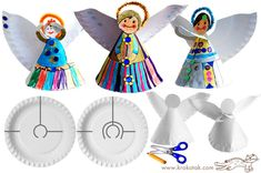 Christmas angels made from paper plates and metal thread (oreolcheta) Preschool Christmas, Christmas Activities, Christmas Crafts For Kids, Kids Christmas, Holiday Crafts, Christmas Angels, Father Christmas, Christmas Paper, Kids Crafts