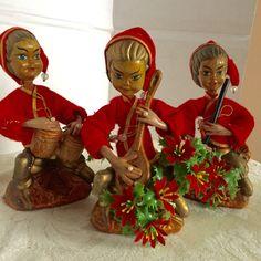 Vintage Christmas Elf Figurines by vintagepoetic on Etsy