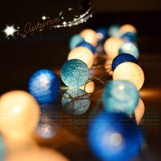 Xmas Mix Blue Cotton ball Battery Powered AC110v AC220v Lights Fairy, Decor party wedding patio xmas gift #Affiliate