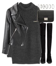 """outfit for a sweater dress for autumn"" by ferned on Polyvore featuring NLST, Acne Studios, Robert Clergerie, MANGO and Forever 21"