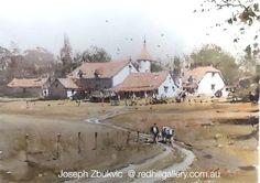 "Joseph Zbukvic - Red Hill Gallery, Brisbane. Watercolour painting ""Going Home Dordogne"""