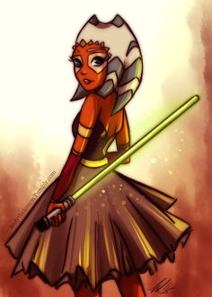 Ahsoka Tano from Star Wars: The Clone Wars in a dress.  Art by andythelemon on Tumblr.