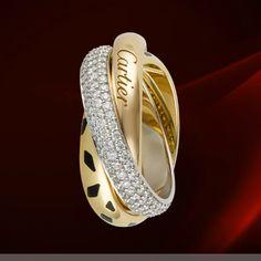 Cartier Trinity Panthere Pave Diamonds Rings