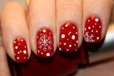 Cute red nails for the winter
