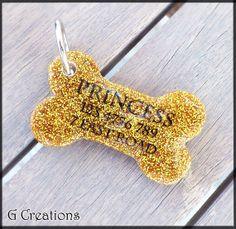 Glitter Bone Dog Tag  Gold or Silver  by GabriellesCreations
