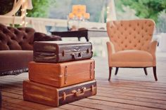 vintage suitcases as coffee table for a lounge area ~ Found Vintage Rentals - Home