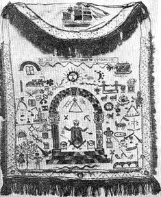 Photograph of a Masonic banner showing the huge array of symbols used in Freemasonry. A sizeable portion of these are also found in the Orange Order.