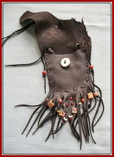 Dark Chocolate Leather Neck Pouch Antler by aboriginalsbykate