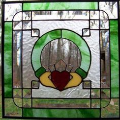 Claddagh stained glass door frame