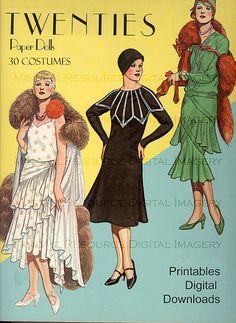Flapper 1920s Fashion Paper Dolls Printable Vintage Dolls Art Deco 30 Dresses Paper Doll Party Dress Up Digital Download Printable Sheets