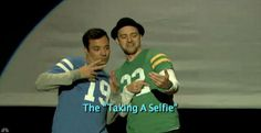 Justin Timberlake and Jimmy Fallon demonstrate the Evolution of End Zone Dancing