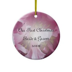 Pink Peony First Christmas Photo Ornament