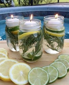 Mason Jar Crafts, Mason Jar Diy, Jelly Jar Crafts, Jelly Jars, Pot Pourri, Citronella Candles, Citronella Plant, Deco Floral, Floating Candles