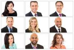 Clean and professional corporate headshots for a team of doctors and health care practitioners. White backdrop.