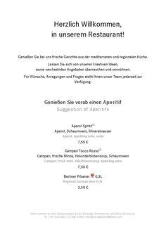 Speisekarte Restaurant im Dorint Hotel Adlershof Berlin