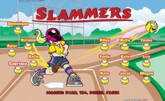 Slammers digitally printed vinyl softball league sports team banner. Made in the USA and shipped fast by Banners USA. http://www.bannersusa.com/art/templates_2/digital/banners/vinyl-softball-team-banners.php