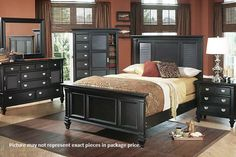 249 Black 4-Piece Queen Bedroom Group by Holland House