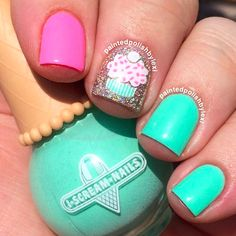 New Ideas For Nails Design Easter Teal Pink Manicure, Pink Nails, My Nails, Birthday Nail Designs, Birthday Nails, Birthday Ideas, Nails For Kids, White Nail Designs, Sparkle Nails