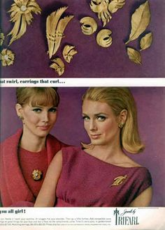1964 - TRIFARI - ADS - _._._ swirl, earrings that curl ... _._._._ you girl!