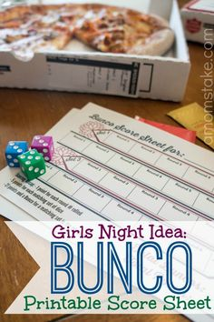 I used to be part of a Bunco Girls Night that was set for every 3rd Thursday night of the month. We would rotate who would host the event and the host would serve dinner. Each guest would bring a gift based on the month's Bunco theme (ex: kitchen or game night or cleaning) with a max budget of $5. I have such fond memories of my monthly Girls Night Out, that I decided to start up Bunco night again!Host aBunco Girls Night