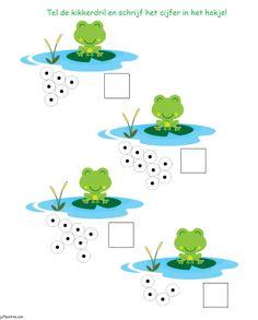 * Tel de kikkertjes... Montessori Math, Preschool Curriculum, Kindergarten Literacy, Preschool Math, Fun Crafts For Kids, Games For Kids, Fun Learning, Teaching Kids, Sapo Frog
