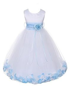 Beautiful Sleeveless Satin Petal Dress with Sash baby bluewhite size 14 ** Check out the image by visiting the link. (This is an affiliate link) #BabyGirlDresses