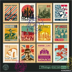 postage stamps cities of the world vintage travel labels and badges set seal and postmark design templates set (french republic tokyo japan republic of tunisia islamic republic of iran) Vintage Travel Wedding, Vintage Travel Themes, Postage Stamp Design, Postage Stamps, Travel Stamp, Stamp Collecting, Design Templates, Tokyo Japan, Travel Bedroom