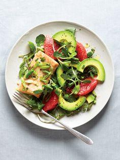 Grapefruit, salmon + avocado salad