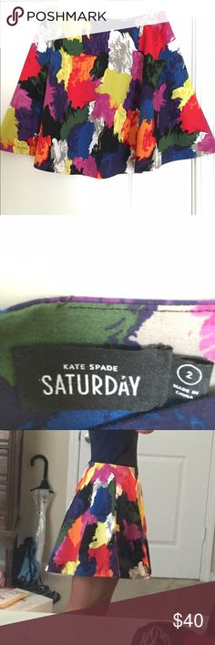 Kate spade Saturday skirt Kate spade Saturday skirt. Really cute. Worn once. Has pockets on both sides. Size 2 kate spade Skirts Mini
